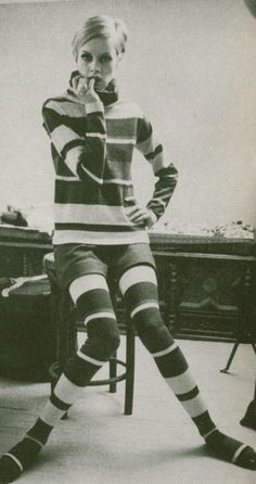 Twiggy in Thigh High Socks and Shorts