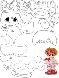 Paper piecing or appliqué idea ¥ Scrapbook Patterns, Scrapbook Embellishments, Paper Piecing Patterns, Doll Patterns, Felt Dolls, Paper Dolls, Foam Crafts, Paper Crafts, Punch Art