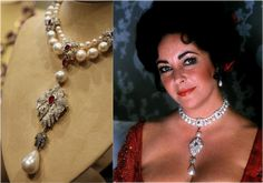 """Elizabeth Taylor's """"La Peregrina,"""" an early 16th century pearl, ruby and diamond necklace by Cartier, that was gift from Richard Burton"""