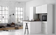 Mooie kleine keuken van Kvik. Keuken Linea White| UW-keuken.nl #keukens