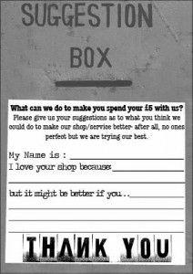Suggestion Card (rear)