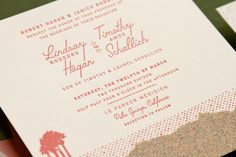 Retro Coral and Olive Palm Springs Wedding Invitations by Anticipate Invitations