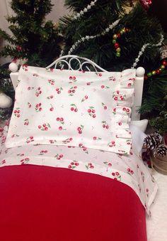 18 inch Doll Cherry Sheet Set and by RibbonwoodCottage on Etsy, $24.00