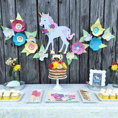 Unicorns & Flowers Birthday Party Ideas | Photo 2 of 12