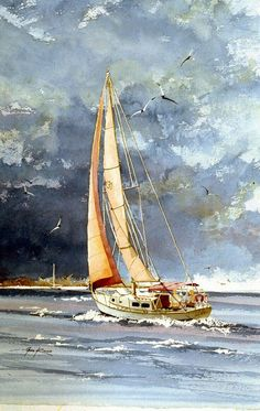 Daddy would put out our dinghy as we approached a harbor and my sibling and I could ride it in as we were towed behind our sailboat (similar to ours albeit not this one which is a painting. Watercolor Landscape, Watercolor Paintings, Watercolor Water, Watercolors, Painting Art, Pinterest Pinturas, Sailboat Painting, Sailboat Art, Nautical Art
