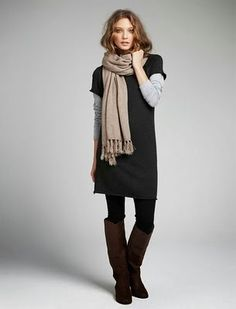 """5 Winter Date Night Looks Guys Love Sweater Dresses What's sexier than a woman in leggings? According to the guys, it's a sweater dress over leggings. Who knew? """"When girls wear sweater dresses over leggings, their bodies always look fantastic. Winter Date Night Outfits, Fall Outfits, Casual Outfits, Fall Layered Outfits, Dress Up Outfits, Mode Outfits, Fashion Outfits, Womens Fashion, Fashion Tights"""