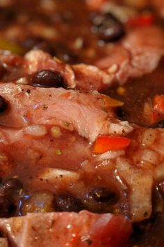 "Jerre's Black Bean and Pork Tenderloin Slow Cooker Chili | ""This was delicious! Healthy and very good. I added 1/2 bottle of beer minced garlic and a bay leaf. Delish!"" #slowcooker #slowcookerrecipes #crockpotrecipes #crockpotdinnerideas Slow Cooker Chili, Slow Cooker Chicken, Slow Cooker Recipes, Crockpot Recipes, Slow Cooker Pork Tenderloin, Dump Meals, Different Recipes, Chili Recipes, Black Beans"