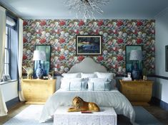 Bedroom in Greenwich Village Townhouse by Rebekah Caudwell Design on Waverly Wallpaper, Bold Wallpaper, Striped Wallpaper, Print Wallpaper, Brooklyn, Manhattan Apartment, New York Homes, Bentwood Chairs, Fashion Room