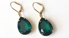 Swarovski Emerald Crystal Earrings Emerald Green Rhinestone