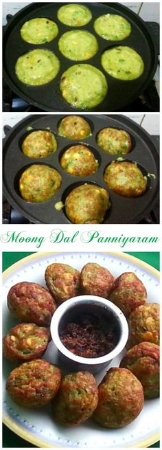 Moong Dal Paniyaram - Its Different - Krishrecipes - Moon Dal Paniyaram is prepared with a batter made with soaked whole Green Gram (Moong) mixed with onions, Green Chillies and is cooked on a Paniyaram Pan. Veg Recipes, Baby Food Recipes, Indian Food Recipes, Vegetarian Recipes, Cooking Recipes, Healthy Recipes, Cooking Corn, Cooking Tips, Gourmet