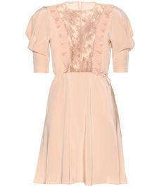 Girlish elegance and Miu Miu go hand-in-hand. This pale-peach silk crepe de chine dress is light and skimming - perfect on warm summer days. Void the sheer lace front with a tonal camisole to make it appropriate for day. Little Dresses, Cute Dresses, Miu Miu, Fashion Tv, Fashion Design, Vintage Mode, Beautiful Outfits, Beautiful Clothes, Fashion Dresses