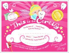 Special delivery from the Tooth Fairy: printable Tooth Fairy certificate and envelope Chores For Kids, Activities For Kids, Tooth Fairy Receipt, Tooth Fairy Certificate, Diy For Kids, Crafts For Kids, Cute Tooth, Printable Certificates, First Tooth