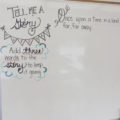 Morning Meeting Board Ideas - Tell Me a Story Tuesday - Students add three words to keep the story going Daily Writing Prompts, Teaching Writing, Writing Traits, Teaching Biology, Writing Ideas, Teaching Ideas, Classroom Activities, Classroom Organization, Classroom Whiteboard