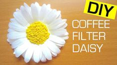 Coffee Filter Flower DIY Coffee Filter Flower DIY, How to Make a Paper Flower (Daisy) EASY. This tutorial shows you how to make a daisy paper flower using coffee filters and seed beads. DIY T-shirts for Summer: … DIY Hot Glue Pendant: … Paper Sunflowers, Tissue Flowers, Paper Flowers Wedding, Tissue Paper Flowers, Paper Roses, Diy Flowers, Flower Diy, Flower Paper, Paper Dahlia