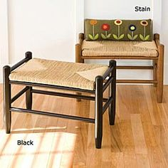 Colonial Accent bench with rush weave seat from Sturbridge Yankee Workshop