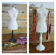 The Gingerbread Blog: Dress Form Jewelry Holder  Mod Podge Upcycle