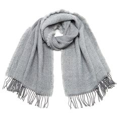 Vero Moda Women's Louisa Long Scarf - Light Grey found on Polyvore featuring accessories, scarves, fringe shawl, vero moda, fringe scarves, long shawl and oblong scarves