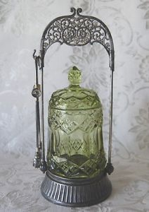 What is a pickle castor? | Victorian Antique Pickle Castor Silver Plate Frame Emerald Jar | eBay