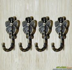 Vintage Small Solid Brass Ball Tipped Double Wall HOOK Coat Hat Towel Belts Ties