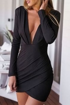 Solid Color Sexy Style Plunging Neck Long Sleeve Bodycon Dress For Women