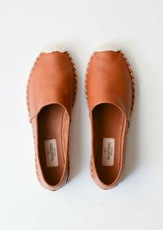 Camel Leather Espadrilles // Valentino