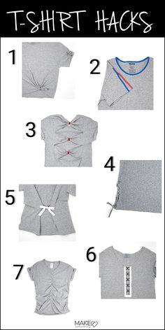 Easy DIY T-Shirt Refashioning - Inspirational T Shirts - Ideas of Inspirational T Shirts - Top 6 t-shirt refashioning hacks. Upcycle that boring oversized t-shirt. Easy sewing hacks for t-shirts. Refashioning inspiration and the tools youll need. T Shirt Hacks, T Shirt Diy, Refashioned Tshirt, Sewing Hacks, Sewing Tutorials, Sewing Tips, Sewing Projects, Sewing Crafts, Upcycling T Shirts