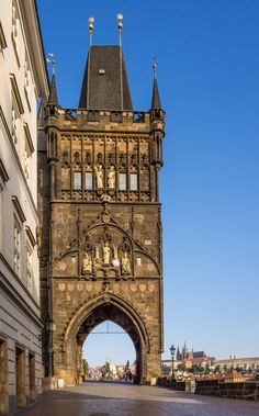 The stunning Old Town Bridge Tower in Prague was built in 1380_ Czech Republic