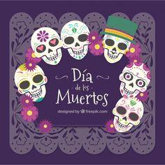 Fondo de calaveras del día de los muertos mexicano Vector Gratis