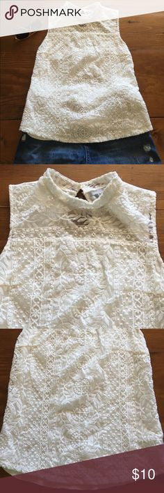 H&M embroidered lace top Beautiful ivory high neck embroidered lace front top. Cotton back. Shell: 78% cotton 22% nylon. Lining: 100% rayon. Machine washable H&M Tops Blouses
