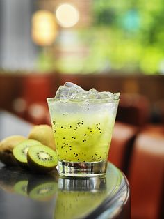 the brazilian – fresh muddled kiwi, lime, sugar cane, shaken with bacardi white rum and soda, on the rocks. Party Drinks, Wine Drinks, Cocktail Drinks, Alcoholic Drinks, Beverages, Cocktails, Brazilian Drink, Brazilian Cocktail, Kitchen