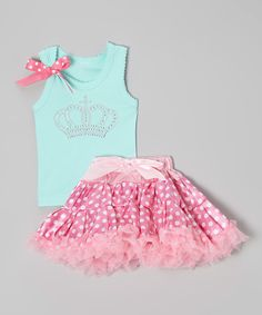 This So Girly & Twirly Teal & Pink Crown Tank & Pettiskirt - Toddler & Girls by So Girly & Twirly is perfect! #zulilyfinds