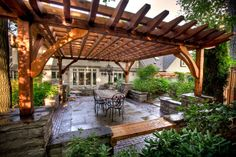 This home has been tastefully integrated into nature via an outstanding landscape plan, the curb appeal emanates a Zen like luxury Backyard Ideas For Small Yards, Small Pergola, Rustic Pergola, Pergola Patio, Backyard Projects, Outdoor Projects, Nutrition Education, Outside Living, Outdoor Living