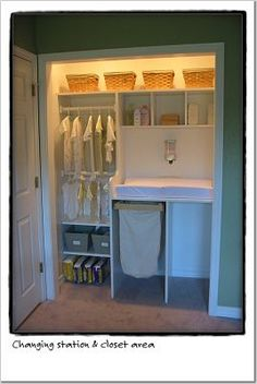 nursery closet changing station--great use of space