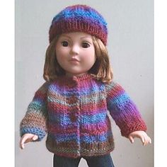 A cute little cardigan and matching hat knit in Mochi Plus for your favorite doll lover.