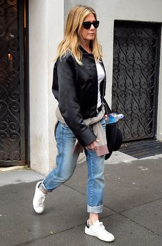 Jennifer Aniston Gives Autumn Style Vibes in a Satin Bomber Jacket and Rolled Up Jeans from InStyle.com