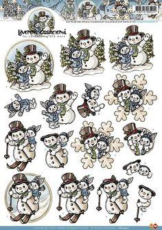 3D Knipvel - Yvonne Creations - Sneeuwmannen