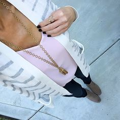 Grey + White Striped Cardigan, Light Pink Cami | On the Daily EXPRESS - Instagram: @ontheDailyX