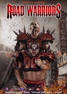The Road Warriors Nwa Wrestling, Wrestling Stars, Wrestling Divas, Wwf Superstars, Wrestling Superstars, The Road Warriors, Fantasy Art Men, Wwe Tna, Sports Figures