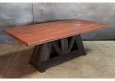STEEL TABLE W/ VINTAGE LEGS From @Stephanie Cleveland Art   Made In  Cleveland, Ohio #madeintheusa #ohio #furniture   Made In The USA Furniture    Pinterest ...