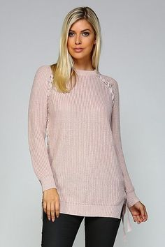 Lace Up Mauve Sweater
