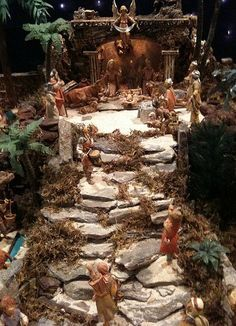 I've been a scale collector for 33 years, and have thousands of pieces. It's our family Christmas tradition. Handmade stone steps leading up to the creche. Christmas Crib Ideas, Family Christmas, Christmas Projects, All Things Christmas, Christmas Holidays, Christmas Decorations, Xmas, Merry Christmas, Christmas Village Display