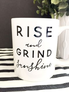 What Does That Daily Cup Of Coffee Really Do For You Get up and get going with this super cute Rise & Grind coffee mug. If you're going to be up at the crack of dawn, you might as well drink your daily infusion of caffeine out of something adorable. Coffee Mug Quotes, Cute Coffee Mugs, I Love Coffee, Coffee Humor, My Coffee, Coffee Drinks, Coffee Beans, Coffee Shop, Coffee Cups
