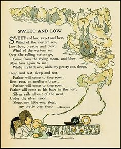 Sweet and Low Alfred Lord Tennyson I love this song! Nice Poetry, Beautiful Poetry, Home Poem, Nursery Rhymes Poems, Alfred Lord Tennyson, Christian Poems, Pomes, Sweet And Low, Tarot