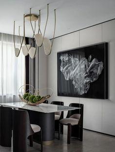 浮光掠影 ,回归自然的生活向度 | WJID维几新作-建e室内设计网-设计案例 Elegant Homes, Reception Rooms, Model Homes, Light Art, Dinner Table, Wood Colors, Chandelier, Ceiling Lights, Flooring