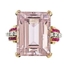 Love, love, love this pink ring accented with rubies and diamonds!not certain if the stone could be a pink kunzite but maybe? Fall Jewelry, Summer Jewelry, Pink Jewelry, Jewelry Box, Fashion Rings, Fashion Jewelry, Morganite Ring, Morganite Jewelry, Or Rose