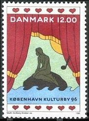 Copenhagen's iconic statue, The Little Mermaid (Den Lille Havfrue), in Copenhagen Harbor. Little Mermaid Statue, The Little Mermaid, Postage Stamp Design, Postage Stamps, Kingdom Of Denmark, Rare Stamps, Going Postal, Copenhagen Denmark, Mail Art