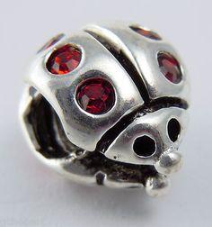 Silver Plate Ladybug w/CZs Large Hole European Bead, Alpha Sigma Alpha & Phi Mu