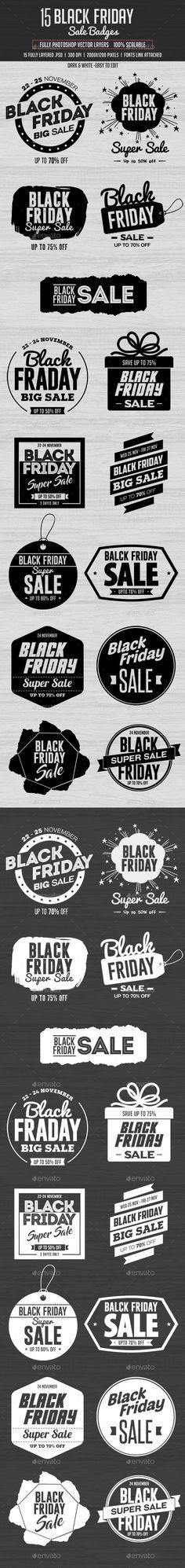15 Black Friday Sale Badges  — PSD Template #advertising #season • Download ➝ https://graphicriver.net/item/15-black-friday-sale-badges/18376401?ref=pxcr