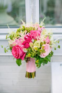 Flowers by Sheena Sementa, owner of Bella Fiori Floral & Event Design in New… Hot Pink Bouquet, Prom Bouquet, Hot Pink Flowers, Prom Flowers, Flower Bouquet Wedding, Purple Bouquets, Flower Bouquets, Bride Bouquets, Hot Pink Weddings