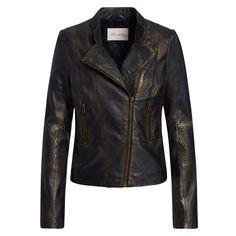 Mit Gold besprüht? Ja, genau so sieht diese softe schwarze Lederjacke aus! #Gold #lederjacke #schwarz #trend